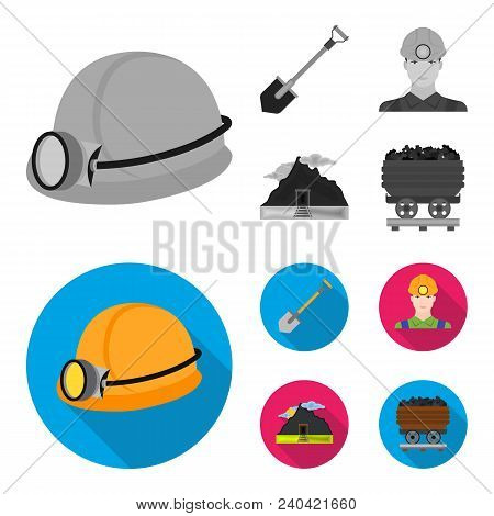 A Shovel, A Miner, An Entrance To A Mine, A Trolley With Coal.mine Set Collection Icons In Monochrom