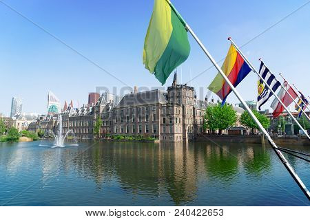 View Of Binnenhof - Dutch Parliament With Netherlands Flags, The Hague, Holland