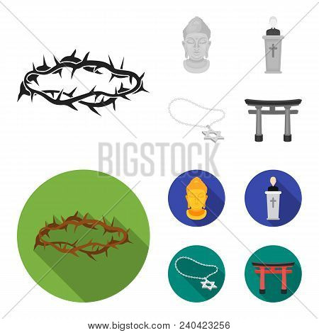 A Crown Of Thorns, A Star Of David, A Priest, A Buddha Head. Religion Set Collection Icons In Monoch
