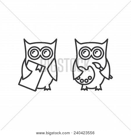Thin Line Owl With Book And Palette Icons On White Background