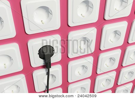 White electric sockets on wall poster