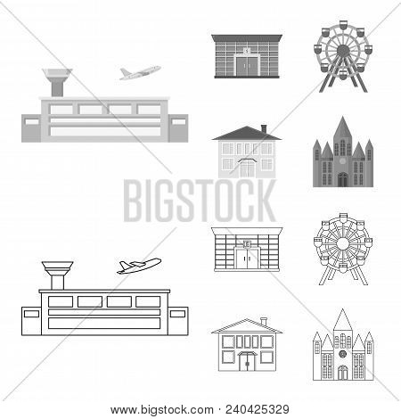 Airport, Bank, Residential Building, Ferris Wheel.building Set Collection Icons In Outline, Monochro