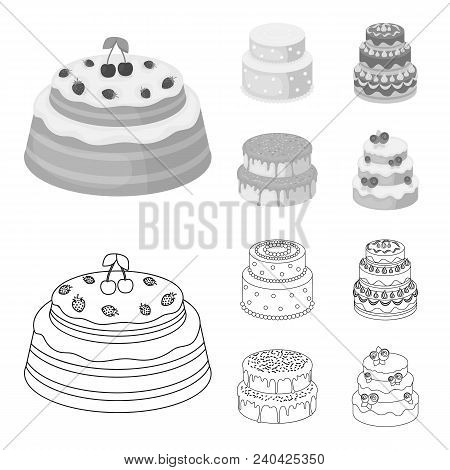 Sweetness, Dessert, Cream, Treacle .cakes Country Set Collection Icons In Outline, Monochrome Style
