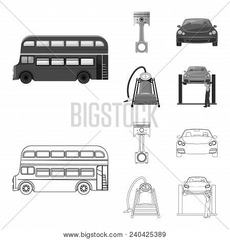 Car On Lift, Piston And Pump Outline, Monochrome Icons In Set Collection For Design.car Maintenance