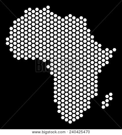 Hexagon Africa Map. Vector Territory Plan On A Black Background. Abstract Africa Map Collage Is Comp