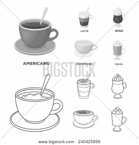 American, Late, Irish, Cappuccino.different Types Of Coffee Set Collection Icons In Outline, Monochr