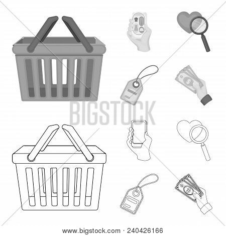 Hand, Mobile Phone, Online Store And Other Equipment. E Commerce Set Collection Icons In Outline, Mo