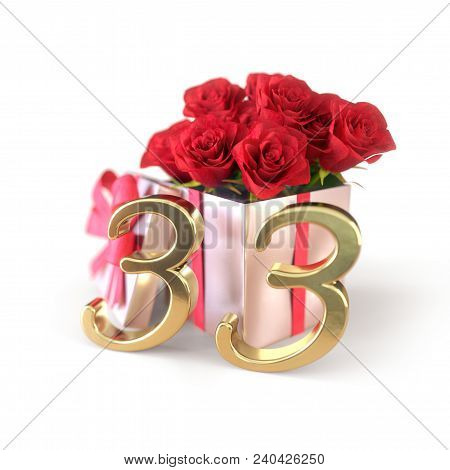 Birthday Concept With Red Roses In Gift Isolated On White Background. 3d Render - Thirty-third Birth