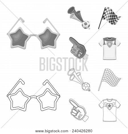 Pipe, Uniform And Other Attributes Of The Fans.fans Set Collection Icons In Outline, Monochrome Styl