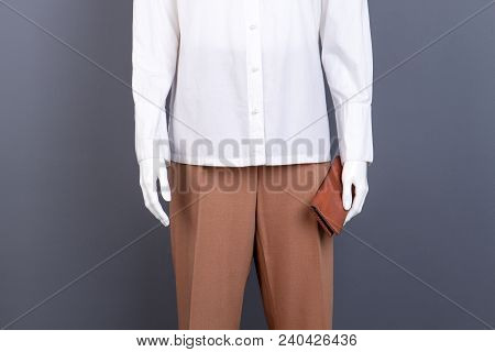 Female Brown Trousers And Purse. Mannequin In Women Cotton Shirt And Pants. Feminine Clothes And Acc