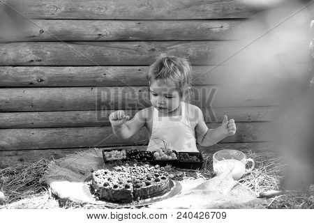 Cute Little Boy In White Pinafore Eats Berries Raspberry Gooseberry Cherry Currant At Table With Fru