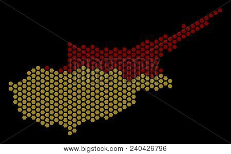 Hexagon Cyprus Countries Map. Vector Geographic Scheme On A Black Background. Abstract Cyprus Countr