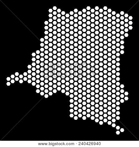 Hex Tile Democratic Republic Of The Congo Map. Vector Territory Plan On A Black Background. Abstract