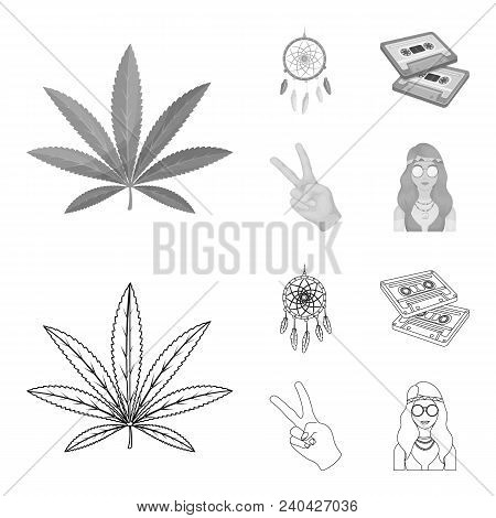 Amulet, Hippie Girl, Freedom Sign, Old Cassette.hippy Set Collection Icons In Outline, Monochrome St