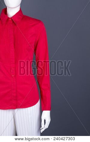 Feminine Fashion Cothes, Copy Space. Female Mannequin Dressed In Colored Long Sleeve Blouse And Whit