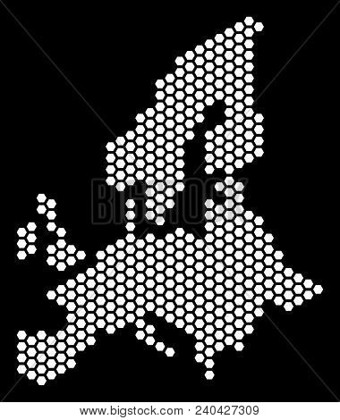 Hex Tile European Union Map. Vector Geographic Plan On A Black Background. Abstract European Union M