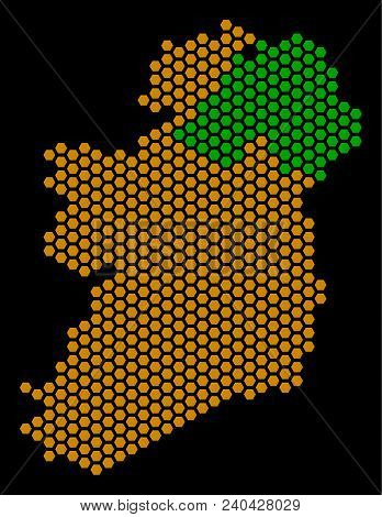 Honeycomb Ireland Countries Map. Vector Territory Plan On A Black Background. Abstract Ireland Count
