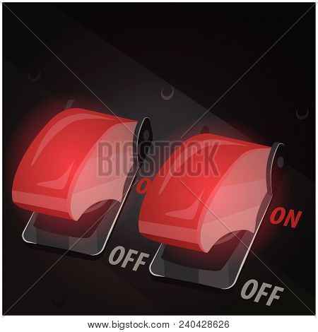 Stylized Vector Illustration Of Toggle Switches With Safety Covers
