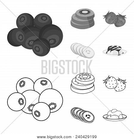 Fruits And Other Food. Food Set Collection Icons In Outline, Monochrome Style Vector Symbol Stock Il