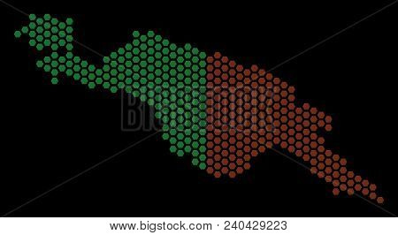 Honeycomb New Guinea Countries Map. Vector Territorial Scheme On A Black Background. Abstract New Gu