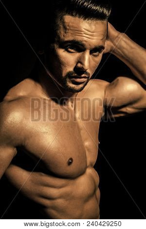 Coach Sportsman With Bare Chest. Man With Muscular Body And Torso. Sport And Workout. Dieting And Fi