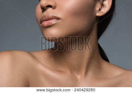 Freshness Concept. Close Up Of Female Appearance And Neck. Her Skin Is Groomed And Young