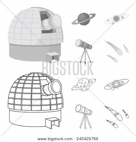 Observatory With Radio Telescope, Planet Mars, Solar System With Orbits Of Planets, Telescope On Tri