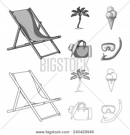 Beach, Palm Tree, Ice Cream.summer Vacation Set Collection Icons In Outline, Monochrome Style Vector
