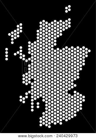 Hex-tile Scotland Map. Vector Territory Scheme On A Black Background. Abstract Scotland Map Composit