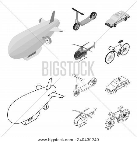 A Dirigible, A Children Scooter, A Taxi, A Helicopter.transport Set Collection Icons In Outline, Mon