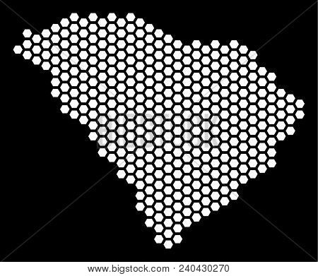 Hexagon South Carolina State Map. Vector Geographic Scheme On A Black Background. Abstract South Car