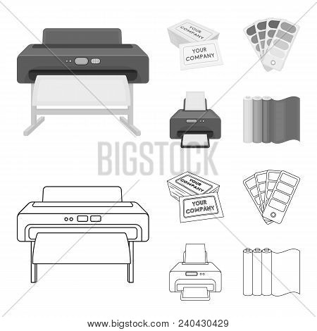 Printer, Credit Card, Color Palette.typography Set Collection Icons In Outline, Monochrome Style Vec