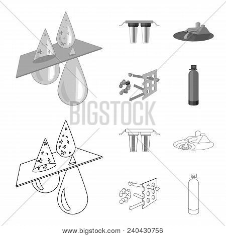 Filter, Filtration, Nature, Eco, Bio .water Filtration System Set Collection Icons In Outline, Monoc