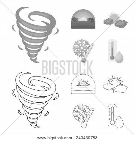 Tornado, Sunrise, Cloudiness, Snow And Frost. The Weather Set Collection Icons In Outline, Monochrom
