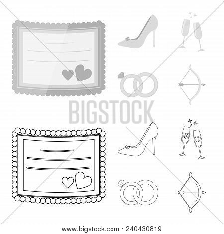 Invitation, Bride Shoes, Champagne Glasses, Wedding Rings. Wedding Set Collection Icons In Outline,