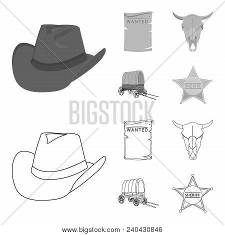 Cowboy Hat, Is Searched, Cart, Bull Skull. Wild West Set Collection Icons In Outline, Monochrome Sty