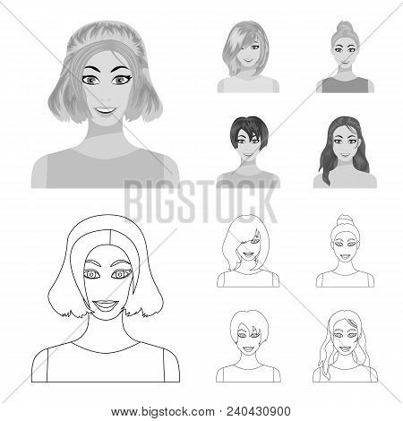Types Of Female Hairstyles Outline, Monochrome Icons In Set Collection For Design. Appearance Of A W