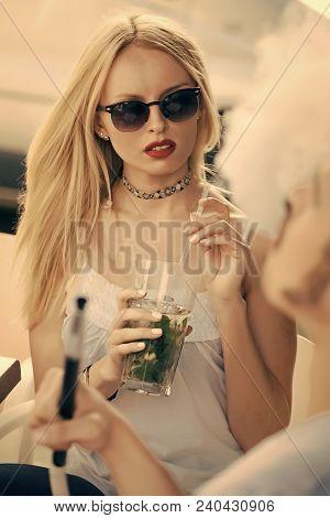 Sensual Woman Look At Man Vaping Hookah Pipe In Bar. Couple At Shisha Cafe Lounge. Date, Love, Propo