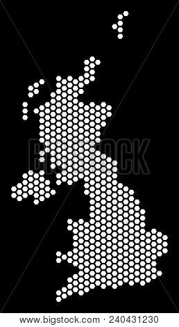 Hex-tile United Kingdom Map. Vector Geographic Plan On A Black Background. Abstract United Kingdom M