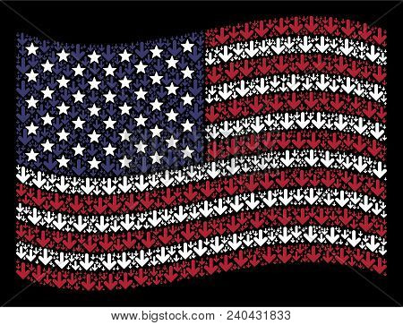 Arrow Down Icons Are Arranged Into Waving United States Flag Abstraction On A Dark Background. Vecto