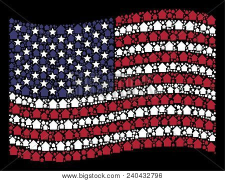 Cabin Pictograms Are Grouped Into Waving United States Flag Abstraction On A Dark Background. Vector