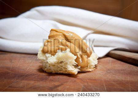 Peanut Butter Bread Bite-size Snack On A Cutting Board