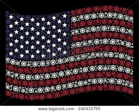 Cog Icons Are Combined Into Waving United States Flag Stylization On A Dark Background. Vector Colla