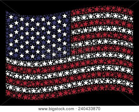 Confetti Star Icons Are Combined Into Waving American Flag Stylization On A Dark Background. Vector