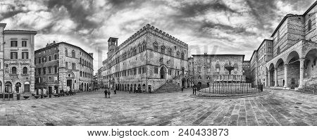 Panoramic View Of Piazza Iv Novembre, Main Square And Masterpiece Of Medieval Architecture In Perugi