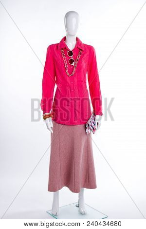 Beautiful Cotton Blouse And Skirt. Full Length Female Mannequin With Modern Shirt, Skirt And Accesso