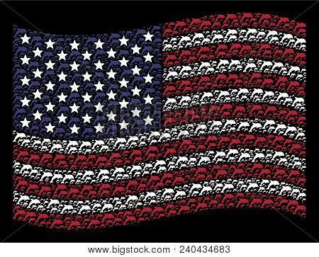 Dolphin Pictograms Are Grouped Into Waving Usa Flag Stylization On A Dark Background. Vector Composi