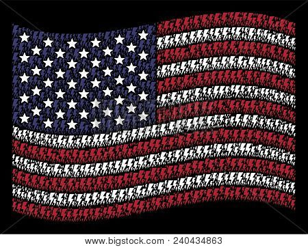 Electric Strike Icons Are Grouped Into Waving Usa Flag Abstraction On A Dark Background. Vector Coll