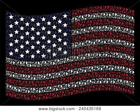 Exit Direction Icons Are Grouped Into Waving American Flag Stylization On A Dark Background. Vector