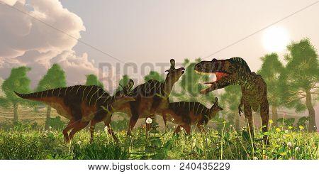 Albertosaurus And Lambeosaurus Dinosaurs 3d Illustration - A Herd Of Lambeosaurus Dinosaurs Become A